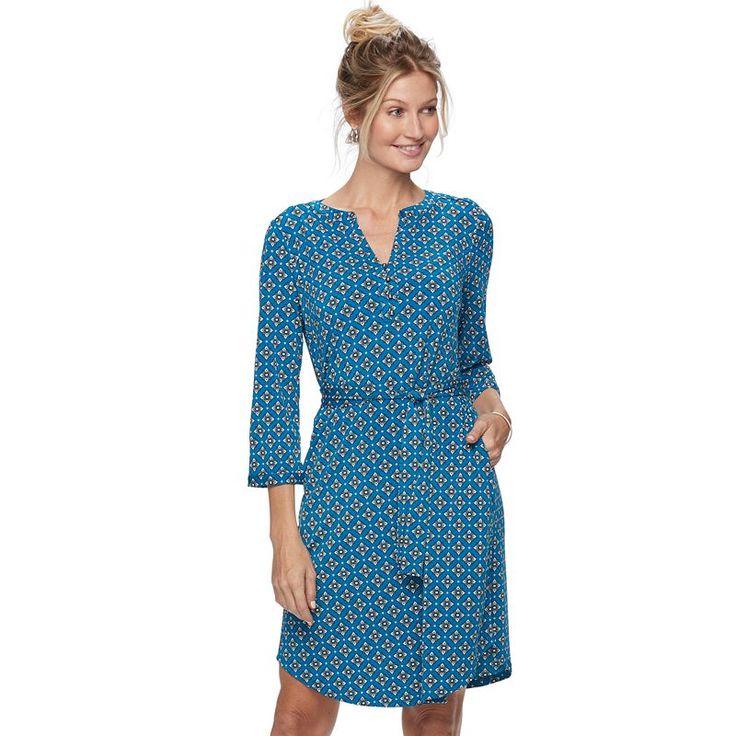 Women's Dana Buchman Shirtdress, Size: XS, Med Blue