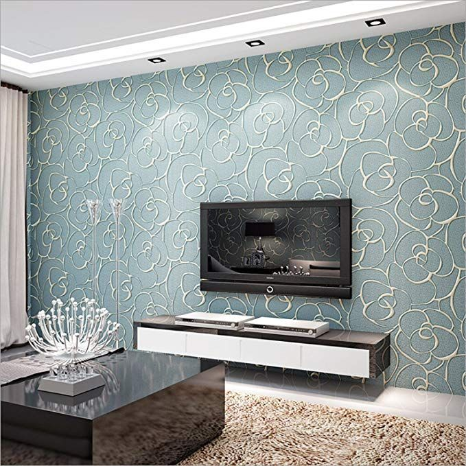 Modern Minimalist Embossed 3d Rose Flower Non Woven Wallpaper Light Blue Deco Living Room Paint Design Design Living Room Wallpaper Living Room Wall Wallpaper Color room wall wallpaper images