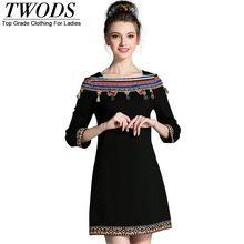 Twods L-5XL Etnik kadın Sonbahar Artı Boyutu Mini Elbise Fringe Slash Boyun Üç Çeyrek Kollu İnce Cut Kısa Elbiseler siyah(China (Mainland))