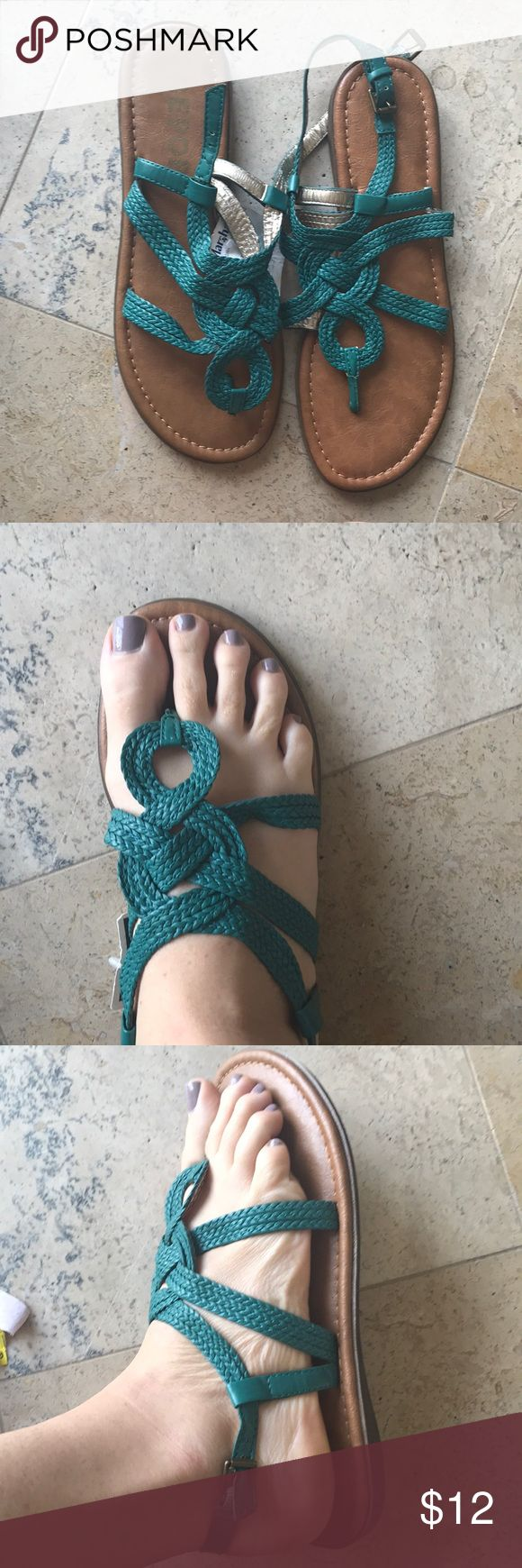 Teal sandals Teal braided sandals Report Shoes Sandals