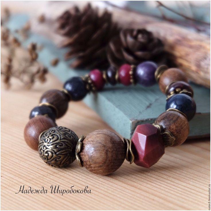 """Купить Браслет """"Ягодный бисквит"""" - браслет с камнями, браслет с деревом, ягоды, бисквит, купить браслет"""