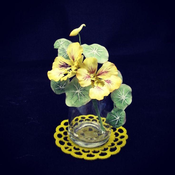 {2 Nice yellow Nasturtiums by Grazie cake and sugarcraft studio}