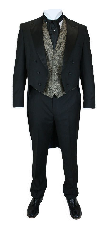 Turn heads in these tails! Our Two Piece Tailcoat Tuxedo keep you dressed to the nines with elegant, clean lines. Timeless appeal for any formal event.The jacket may seem serious in solid black, but the inside is fully lined. Tailored with a slim fit and cut-away front with traditional tails in the rear. A satin peak lapel and six satin-covered buttons add sophistication. The jacket features a plethora of pockets for the modern man: 2 interior pockets and one exterior breast pocket.The…