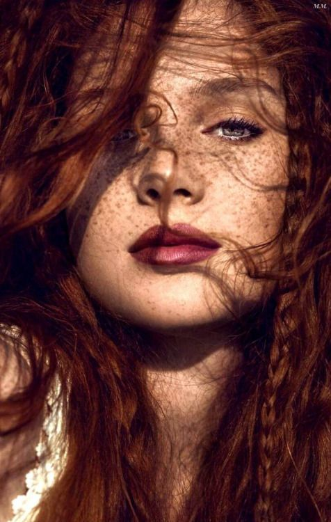 Redheads make up. Bordeaux lips, braids, long hair, green eyes, freckles.