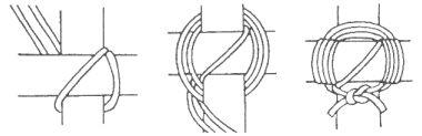 Cuadrado Japonés La ventaja de este nudo es que con sólo tres ahorcamientos, el amarre queda mucho más apretado que otros La cuerda se usa doble y al final se separa para terminar con llano.
