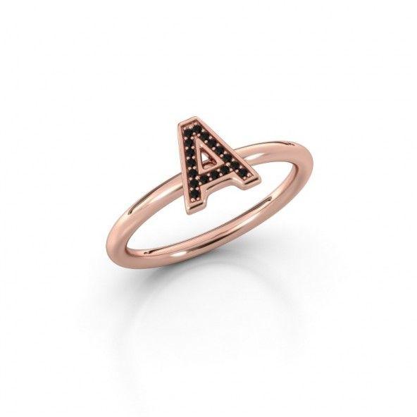 Initial F - ring gemaakt van roodgoud met zwarte diamanten #letterring #initialring #blackdiamonds  #redgold #nameit #roodgoud #diamondsbyme #zwartediamant