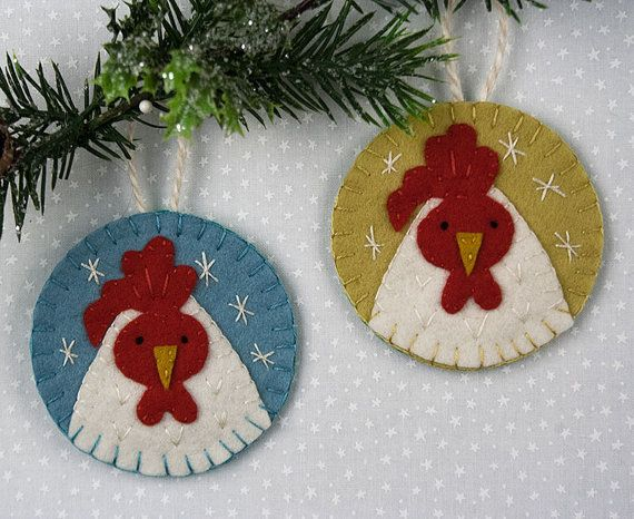 Set of Two Wool Felt Rooster Ornaments Farm by OliverRabbit