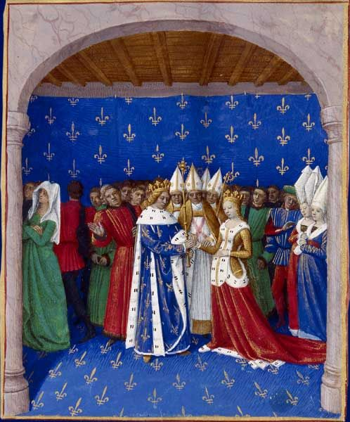 Mariage de CharlesIV le Bel et de Marie de Luxembourg  Grandes Chroniques de France, enluminées par Jean Fouquet, Tours, vers 1455-1460  Paris, BnF, département des Manuscrits, Français 6465, fol. 332 (Livre de CharlesIV le Bel)  Le 21septembre1322 à Provins, CharlesIV le Bel et Marie de Luxembourg, fille de l'empereur HenriVII, se marient. Sur la gauche, Blanche de Bourgogne, première épouse de CharlesIV, s'éloigne triste et dépitée par l'annulation de son mariage.