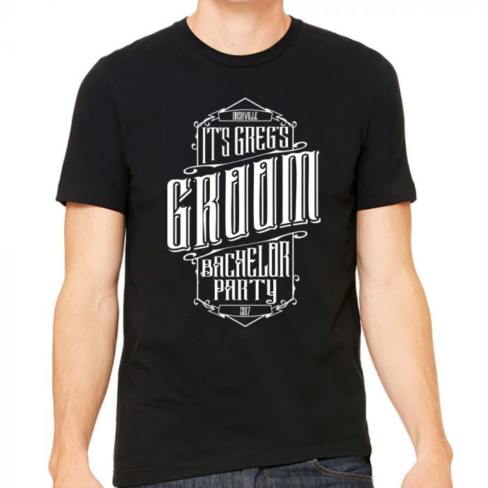 Choose your shirt color and personalize the text of this bourbon label inspired bachelor party shirt. The groom is sure to stand out at his party when wearing this shirt. Add nicknames, or bridal party titles to make each shirt special for the party goers.