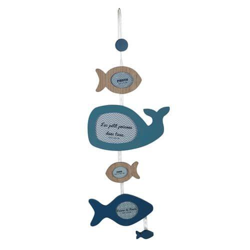 Cadre photo multivues poissons bleu 21 x 57 cm MARIN