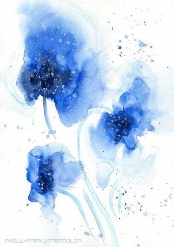 Blue Abstract Watercolor Flower Print Blue Watercolor Blue Print