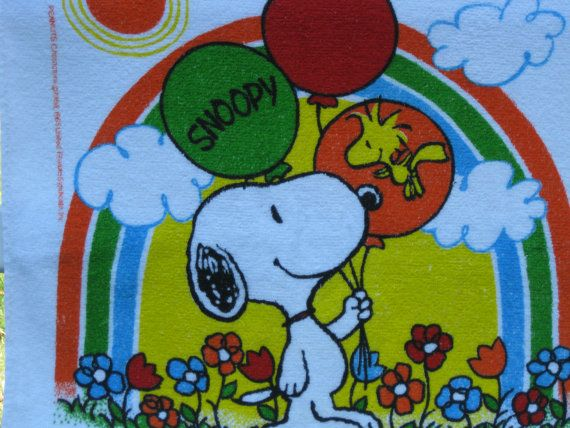 Vintage Snoopy and Woodstock Terry Cloth Towel