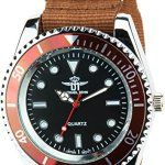 MICHAEL JOHN – Montre Homme  NOIR MARRON  Quartz Acier Elégant Sport Mode Bracelet  MARRON NYLON: Montre disposant d'un mouvement quartz…