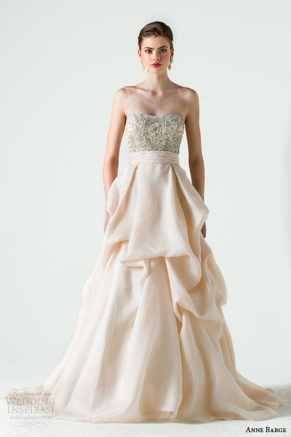 anne barge bridal spring 2015 cherish strapless wedding dress beaded bodice pickup skirt