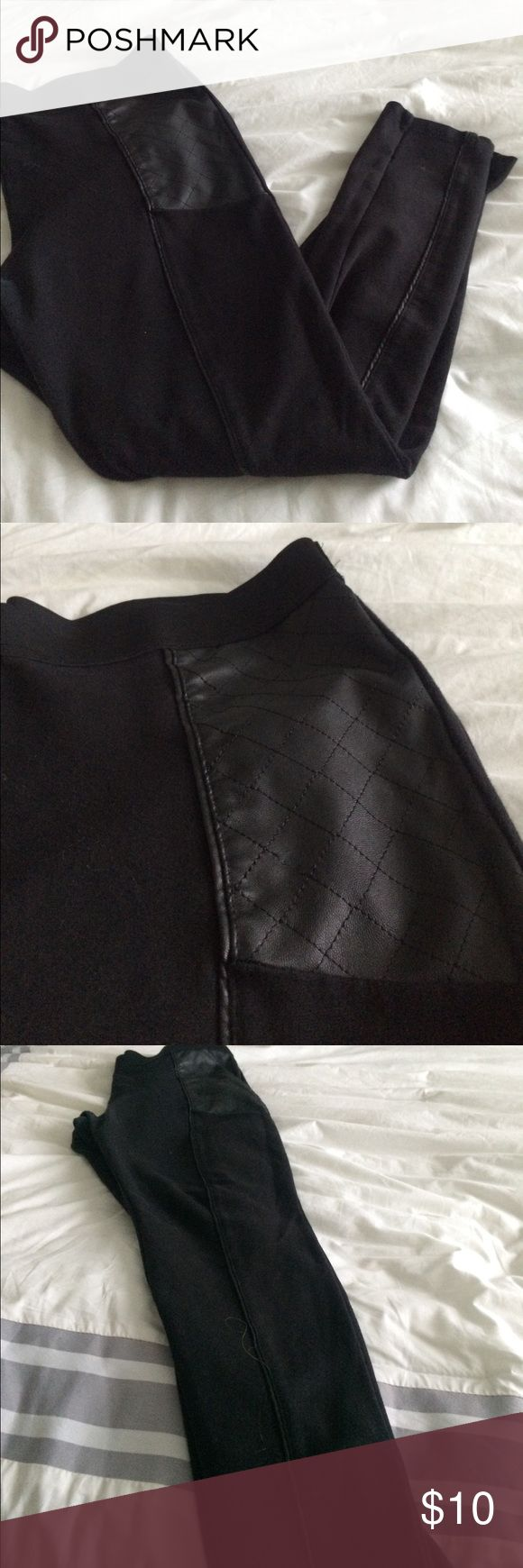 H&M Leggings with Leather Detail NWOT Leather leggings- detail panel on top and seam down front. H&M Pants Leggings