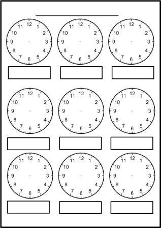 Free printable blank clock faces worksheets