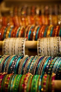 Endless rows of Indian bangles. Love.