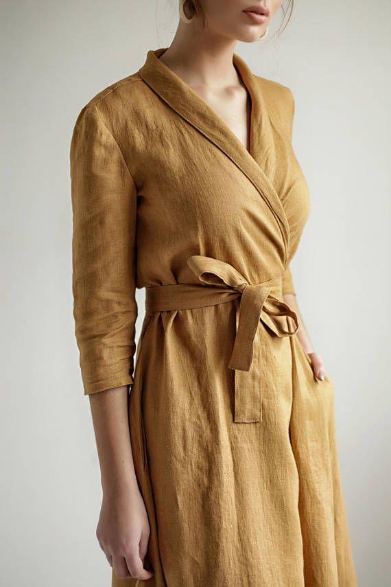 900c78cc98 Mustard Linen Wrap DressLinen Dress Shawl Collar Linen