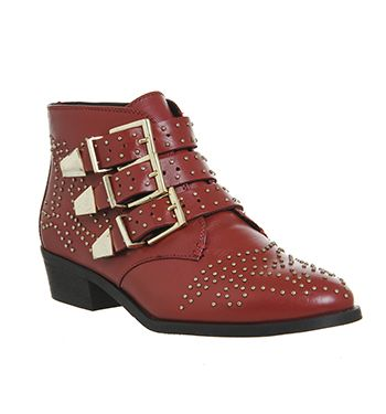 Office, Lucky Charm Studded Boots, Red Leather Gold Harware