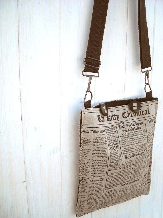 SAMMY unisex iPad messenger  newspaper bag by Lunica on Etsy, $65.00