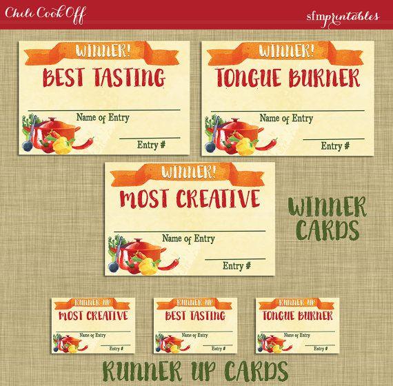 instant download  chili cookoff winner badges labels