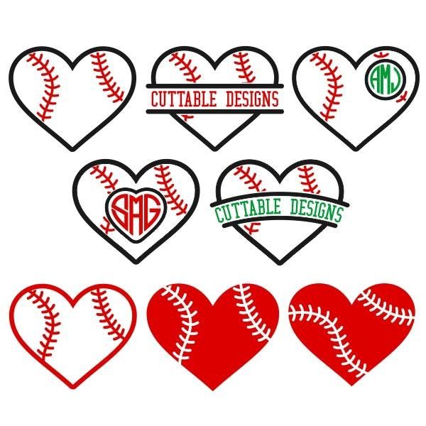 SVG Baseball Hearts - Cuttables