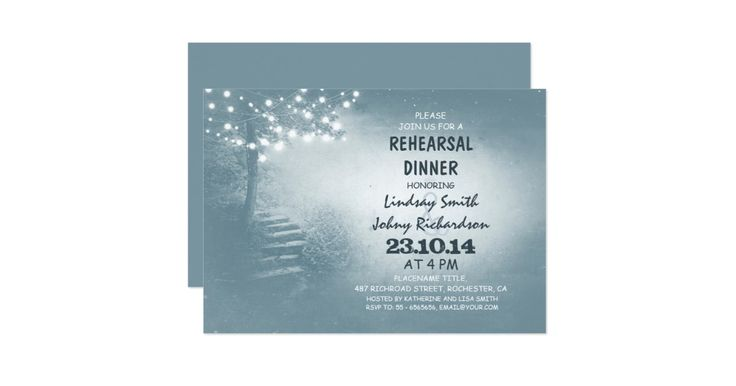 light blue rustic rehearsal diner invitation featuring tree decorated with string of lights growing along the stone stair path.Perfect invite fortree theme outdoor rehearsal dinner with twinkle lights accents or just for rustic country rehearsal dinner in the garden or ranch. Please contact me if you need help with customization, need more products or have a custom color request. -------If you push CUSTOMIZE IT button you will be able to change the font style, color, size, move it etc. it…