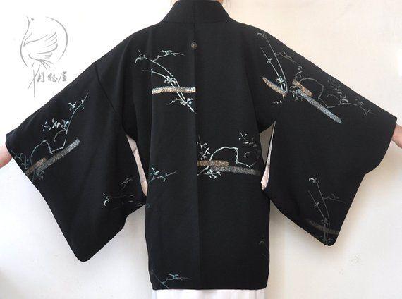 Vintage 80s Japanese Haori Kimono Womens Soft Silk Cardigan Jacket Black