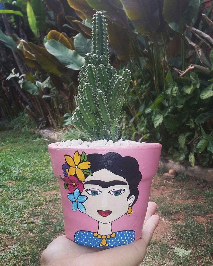 Maceta pintada a mano Frida Kahlo