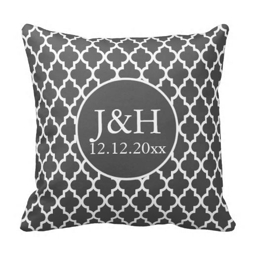 Quatrefoil Monogrammed Wedding Grey and White Pillow
