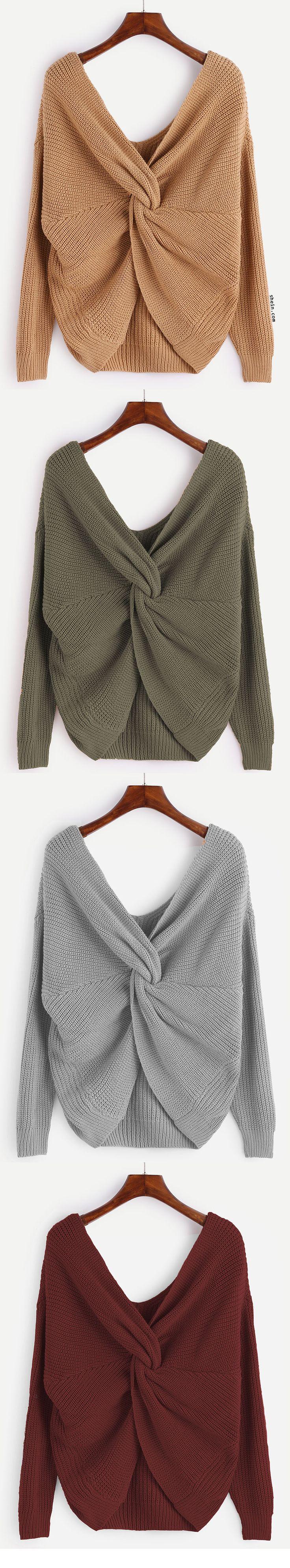V Neck Knot Sweater