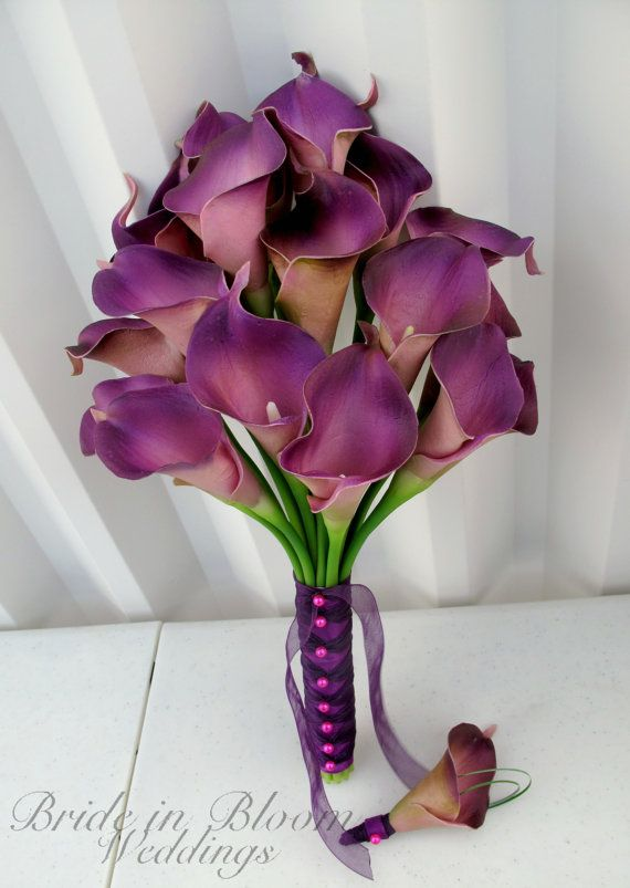 Calla lily Wedding bouquet plum purple by BrideinBloomWeddings