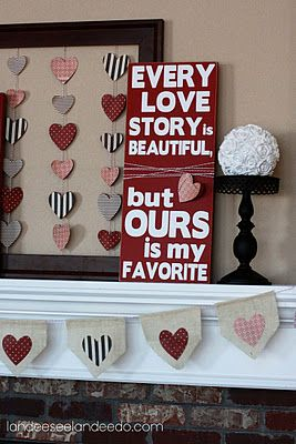 cut outs of hearts on a string with a frame. Simple and cute Valentine Decoration!