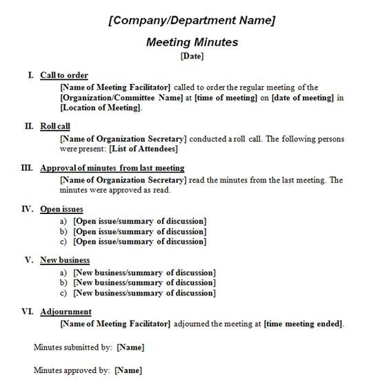 Printable Template of Meeting Minutes | Formal Meeting Minutes Template