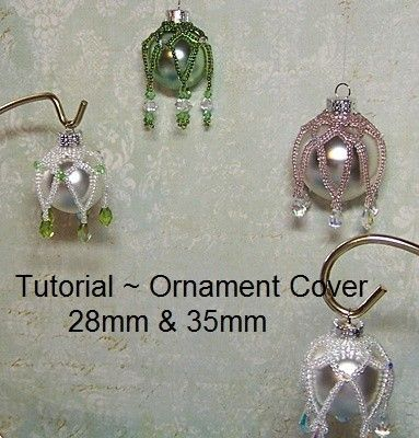 PDF Tutorial - Swarovski Ornament Cover  INSTANT DOWNLOAD    Beginner Project ~ Netting Stitch Includes complete instructions with full-color photographs
