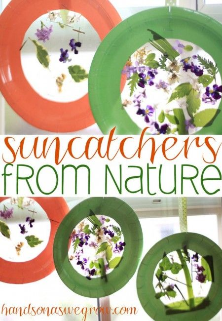 After a nature scavenger hunt, turn the nature objects into a pretty suncatcher for the window!