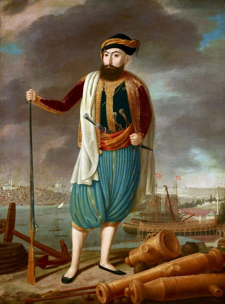 Eastern warrior against the port (Commander of the Arsenal in Istanbul) by Anonymous Painter, beginning of the 19th century (PD-art/old), Muzeum Narodowe w Krakowie (MNK)