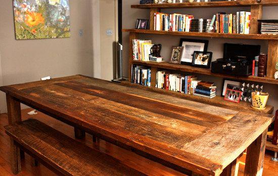 Reclaimed Wood Farmhouse Dining Table – Textured Finish