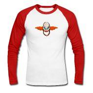 Skjorter med lange armer ~ Langermet baseball-skjorte for menn ~ Long-sleeve med Evil Clown motiv