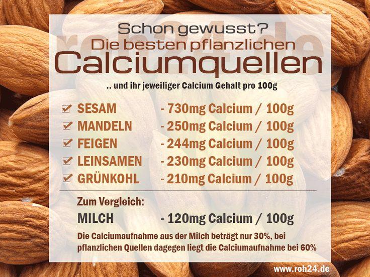 """Die besten pflanzlichen Calciumquellen! Selbst gemachter """"Milchersatz"""" aus Sesam oder Mandeln liefert dabei mehr und besser verfügbare Mineralien als Milch. Calciumquellen: www.roh24.de/rohkost/schlagworte/calcium"""