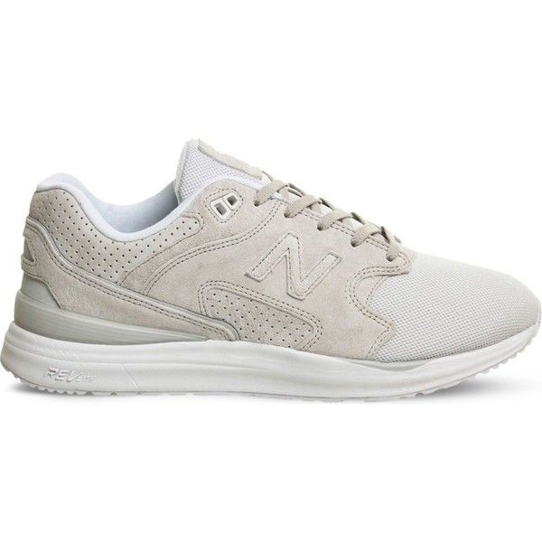 NEW BALANCE ML1550 suede and mesh trainers ($110) ❤ liked on Polyvore featuring shoes, sneakers, basket, light grey, perforated shoes, laced shoes, mesh shoes, laced sneakers and new balance