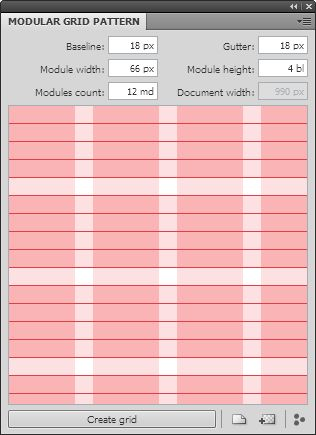 Modular Grid Pattern — is application for web designers, which helps you quickly and easily to create a modular grid in Adobe Photoshop, Adobe Fireworks, GIMP, Microsoft Expression Design and other.