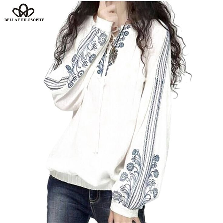 spring summer autumn ethnic vintage long sleeves blue-and-white floral embroidered tie neck shirts blouses