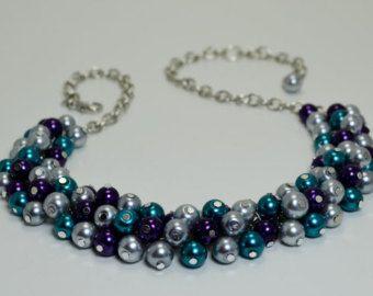 Collar de perlas Coral y Champagne collar de perlas joyería