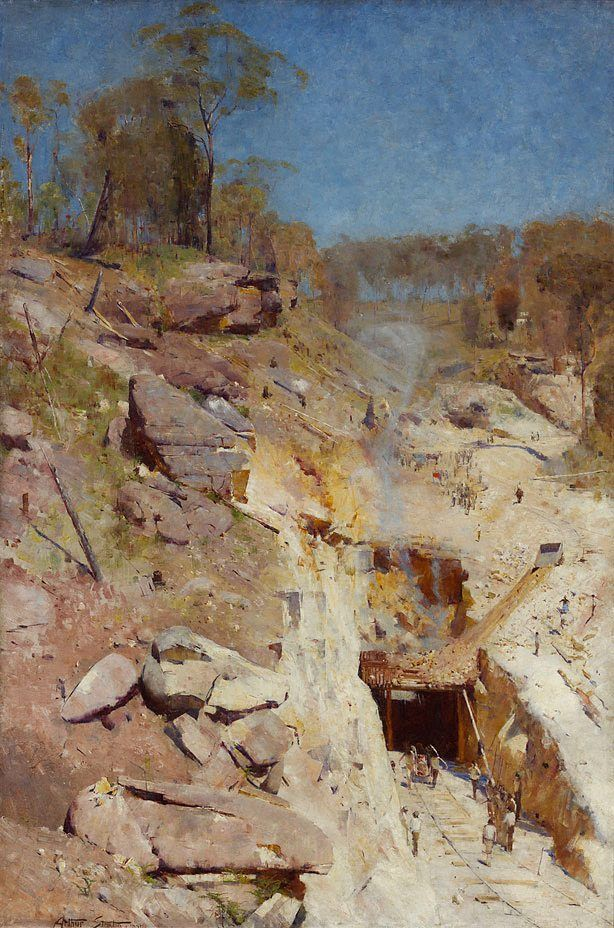 """Arthur Streeton    (Australia, England, Australia 08 Apr 1867–01 Sep 1943)    Title      Fire's on   Other titles:      """"Fire's on"""" Lapstone tunnel  Place of origin      Lapstone → New South Wales → Australia  Year      1891  Media category      Painting   Materials used      oil on canvas  Dimensions        183.8 x 122.5cm; 204.7 x 142.7 x 6cm frame"""