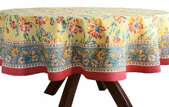 The bright yellow floral tablecloth is perfect for your barbeque party this summer! The floral design are hand block printed on fine cotton one layer after another.