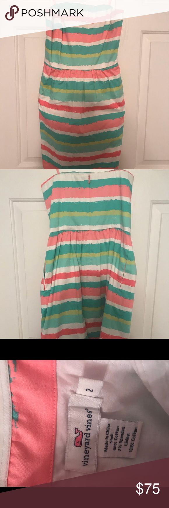 Vineyard Vines Strapless Dress Vineyard Vines Strapless Dress. This dress is super cute on! Bought to wear to a wedding, only worn one time! Hits above knee. Vineyard Vines Dresses Mini