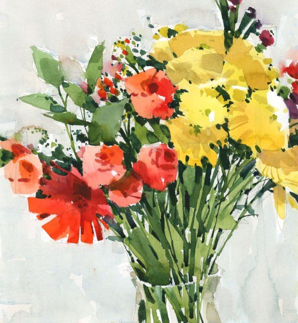 Watercolor Flowers And Paint Brushes: 1229 Best Images About ART: Flowers On Pinterest
