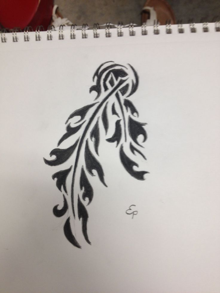 Feather tattoo design tribal simple Native American ...
