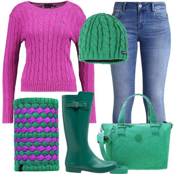 Una bella passeggiata lungo mare anche dinverno? Perchè no, basta essere vestite adeguatamente e gli stivali in gomma sono perfetti. Li ho abbinati ai jeans slim e al maglione rosa, il berretto è verde come gli stivali e la borsa sportiva, lo scaldacollo in maglia verde e rosa si abbina armoniosamente. Se la giornata è particolarmente fredda abbinate un bel parka verde con pelliccia rosa.